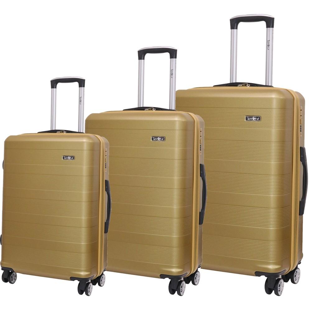 Traveller ABS 4 Wheel Premium Luggage Trolley 3pcs Set, Brown, TR-3300