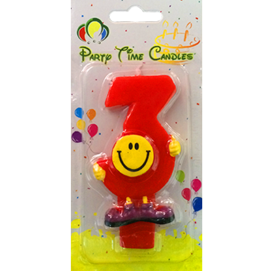Party Time Smiley Candle 3 M082