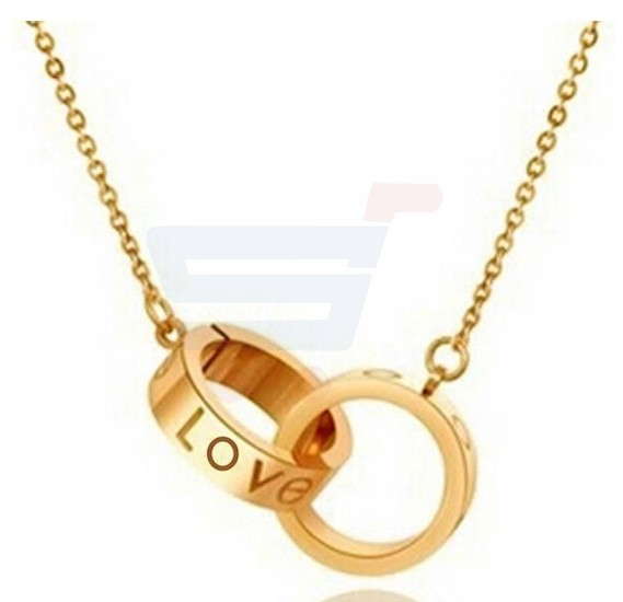 Classic Titanium Gold Plated Big Small Circle Love Necklace For Women