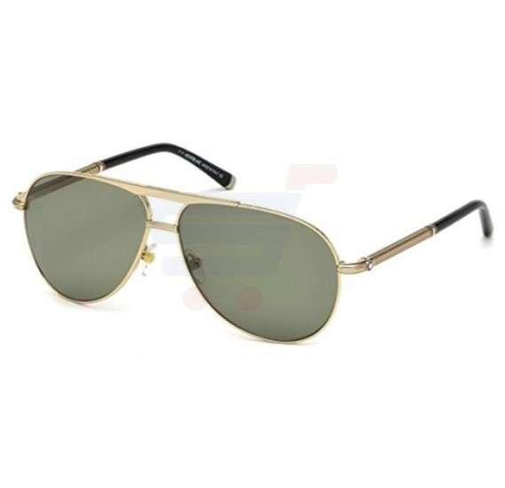 Mont Blanc Aviator Rose Gold Frame & Green Mirrored Sunglasses For Men - MB517S-28R