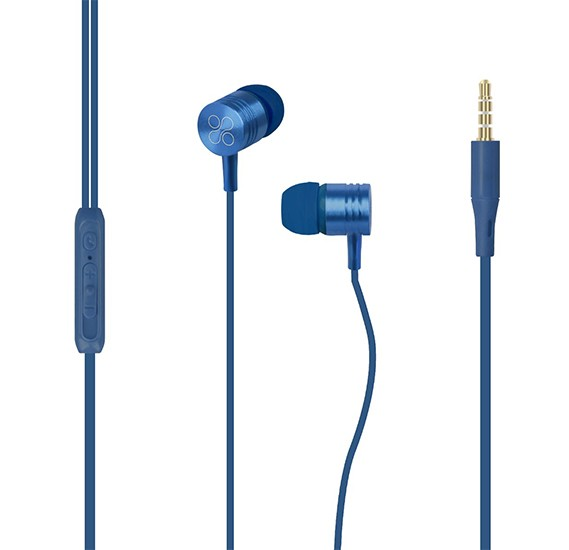 Promate Wired Earphones, Premium Metal 3.5mm In-Ear Earphones Stereo Headphones, Meta Blue