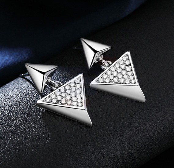 Tiara Elements Triangle Designed Earrings With Rhinestones Embosed Into Them - UE0172B