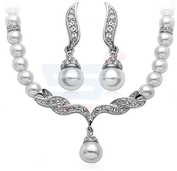 Silver Plated Pearl Party Jewelry Set, RM0011NSFS