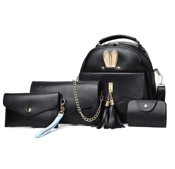 4pcs Envelope Backpack Bag Set, Black