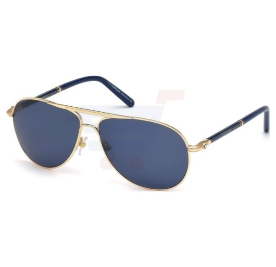 Mont Blanc Rectangular Rose Gold/ Blue Frame & Blue Mirrored Sunglasses For Unisex - MB513S-28V