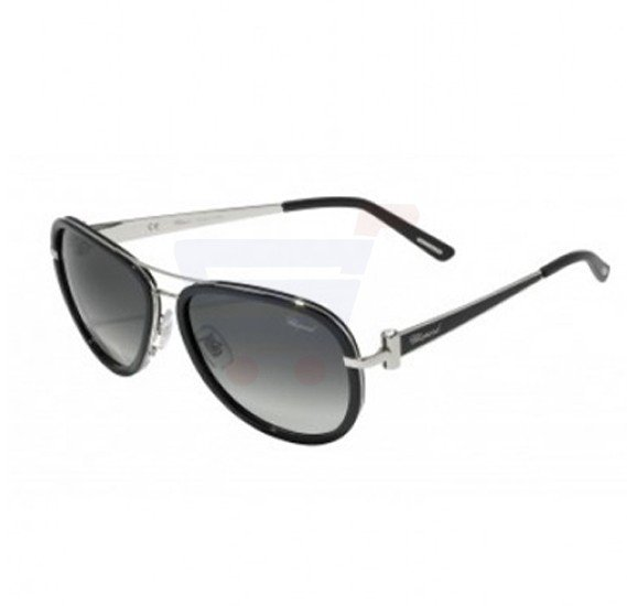 Chopard Oval Black Frame & Grey Mirrored Sunglasses For Unisex - SCHB27S-0583