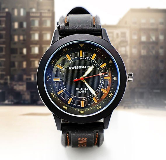 Quartz Black Leather Casual Analog Watch For Men-SMW115