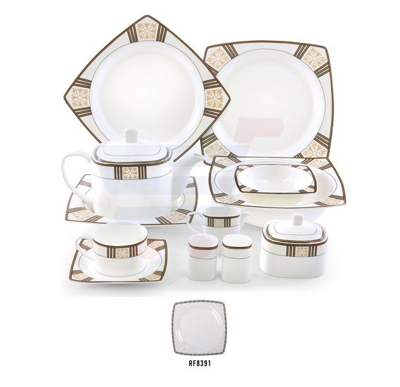 RoyalFord 47 Pc Reflect Fine Bone Square Dinner Set - RF8391