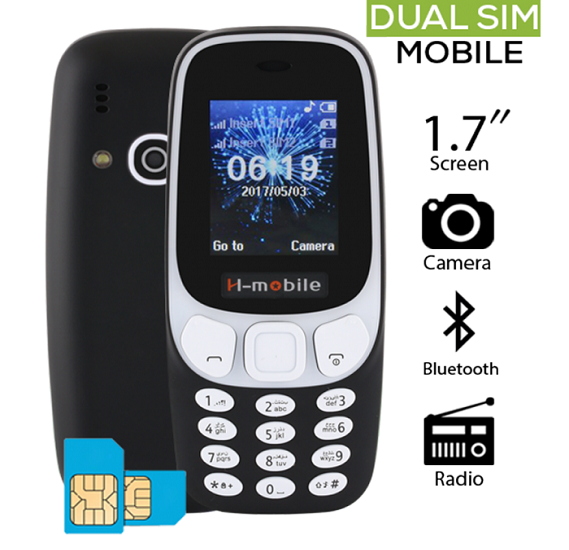 H Mobile 3310, 2G Dual Sim, 2 MP Camera, Keypad Phone, Black