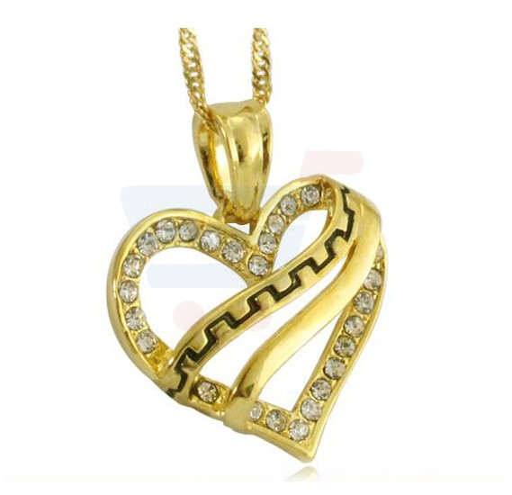 18k Gold Plated CZ Stone Couple Lover Fashion Pendant Necklace Set Heart Shape