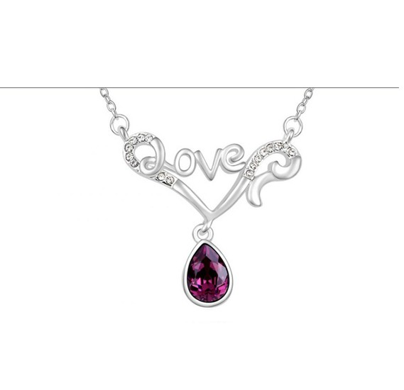 420ac87333 Buy Swarovski Elements 18K White Gold Plated Necklace encrusted with Dark  Maroon Swarovski Crystals Online Dubai, UAE | OurShopee.com 55593