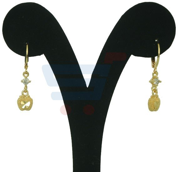 Elissa Jewelry 22K Gold Plated Ladies Fancy Heart Earrings, EY027