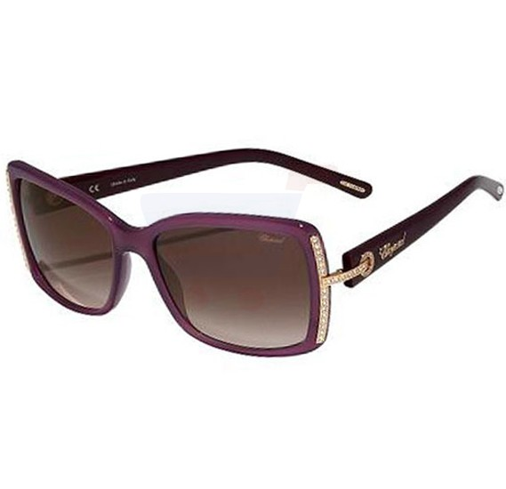 Chopard Oval Opaline Purple Frame & Brown Gradient Mirrored Sunglass For Women - SCH126S-0903