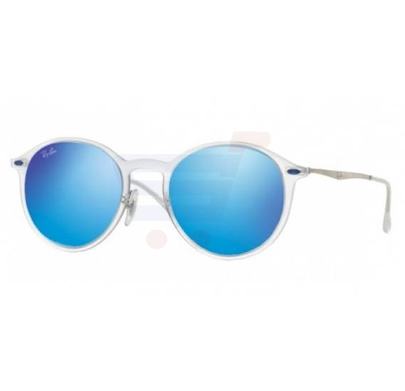 Ray-Ban Round Clear Frame & Blue Mirrored Sunglasses For Unisex - RB4224-646-55-49-20