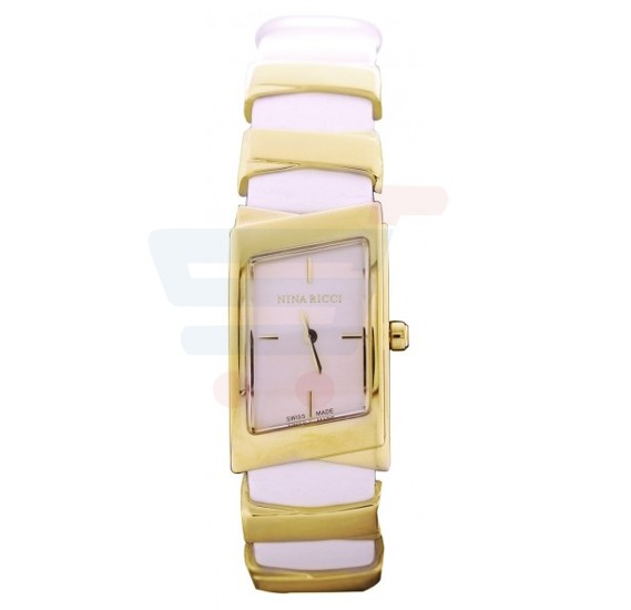 Nina Ricci Gold Plated Case Champagne Dial Leather Strap Ladies watch - N066003SM