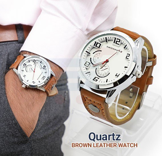 Quartz Brown Leather Analog Watch For Men-SMW112
