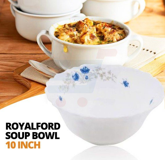 Royalford Opalware Soup Bowl Romantic 10 Inch White - RF5684