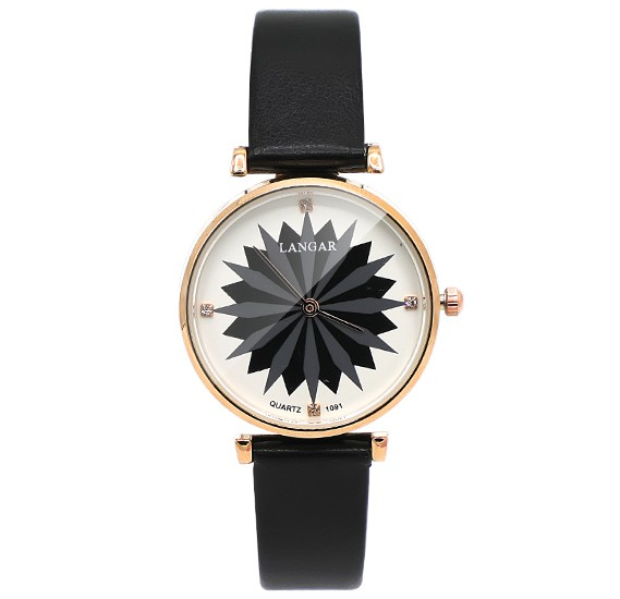 655b435b313a Langar Lotus Design Thin Leather Strap Leather Watch For Women - Black