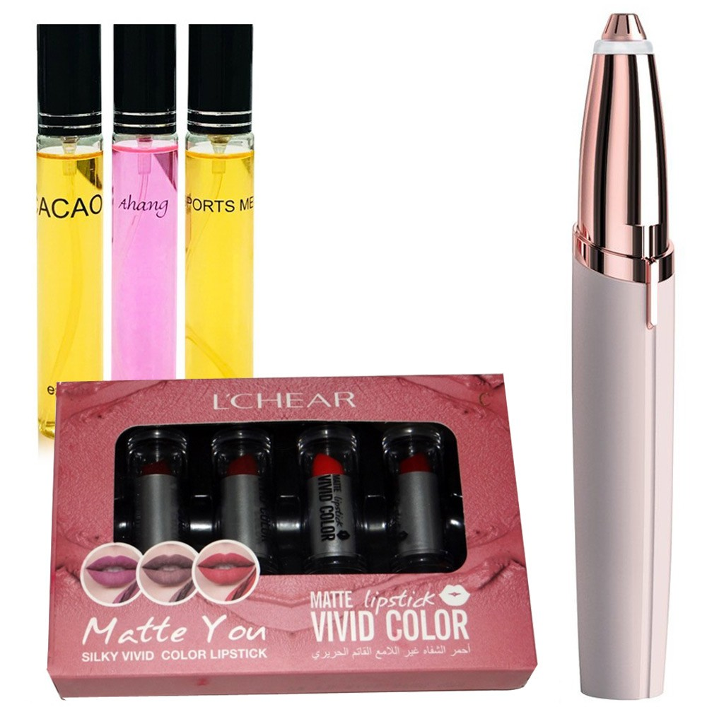 3 in Bundle Pack Veyes 3 in Perfume Gift Box, Lipstick Vivid Color 3.9gm x 4pcs, DQ1144A and Finishing Touch Flawless Brows Eyebrow Hair Remover