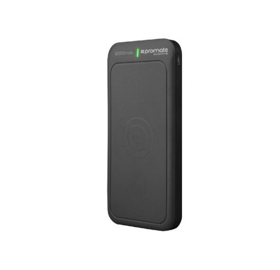 Promate Portable Wireless Charger Power Bank, Powerful Qi Wireless 10,000mAh External Battery Charger with Type-C™, Micro USB Input and Dual Fast Charging Port for Qi and USB Enabled Devices, AuraVolt-10 Black