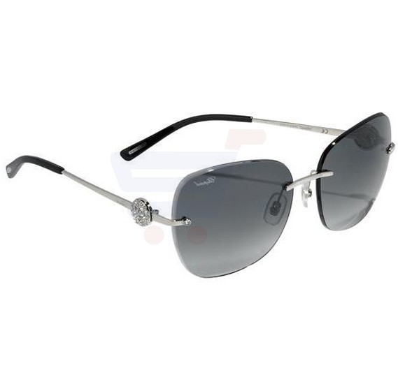 Chopard Oval Shiny Palladium Frame & Smoke Gradient Mirrored Sunglass For Woman - SCHB22S-0579