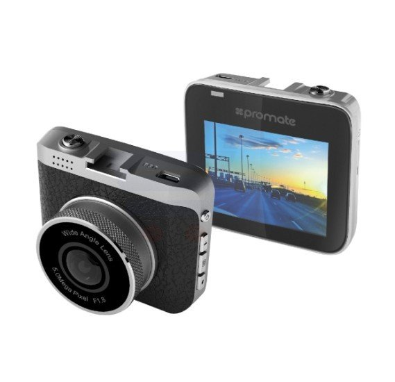 Promate Dash Cam, Dashboard Camera 360 Degree Rotatable Full HD 1080P with Motion Detection, G-Sensor, 2.4 Inch LCD, 120 Degree Wide Angle Lens, Car Mount and Micro SD Card Slot for All Types of Car, DashCam-2