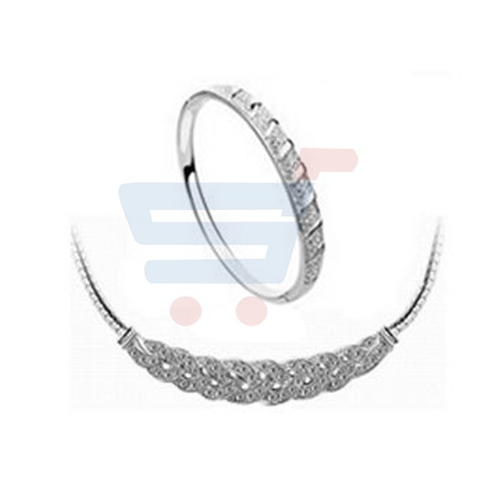 Silver Plated Austrian Crystal Necklace and Bangle Set - MM0065