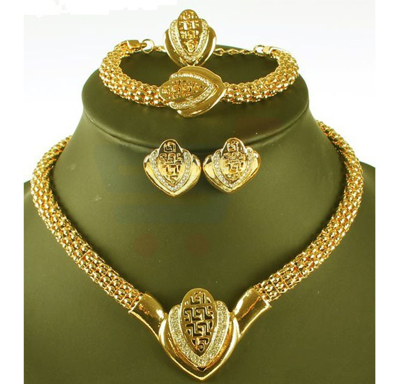 18k Gold Plated African Costume Heart Jewelry Set For Women