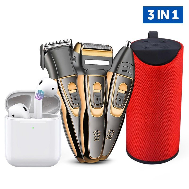 3 in 1 Bundle Pack Bluetooth Earphone, Splashproof Wireless Bluetooth Speaker and 3 in 1 Hair Clipper and Trimmer