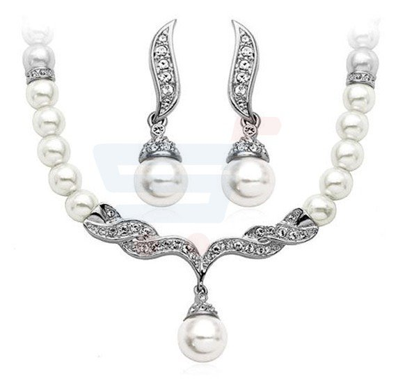 18K White Gold Plated William Kate Queen Pearls Wedding Jewelry Set - M01143