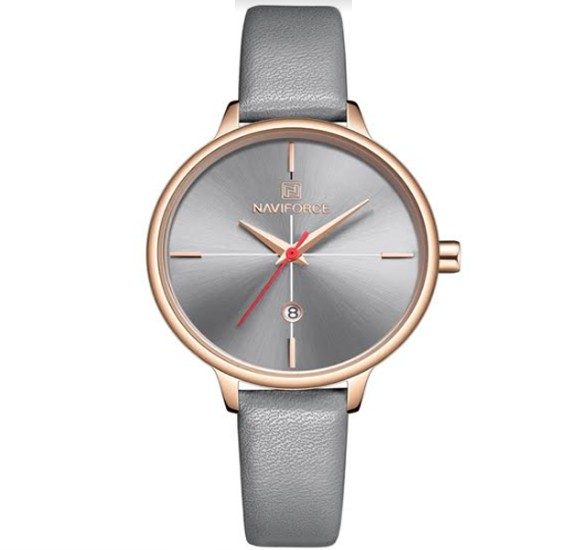 Naviforce Genuine Leather Watch For Women, NF 5006, Grey