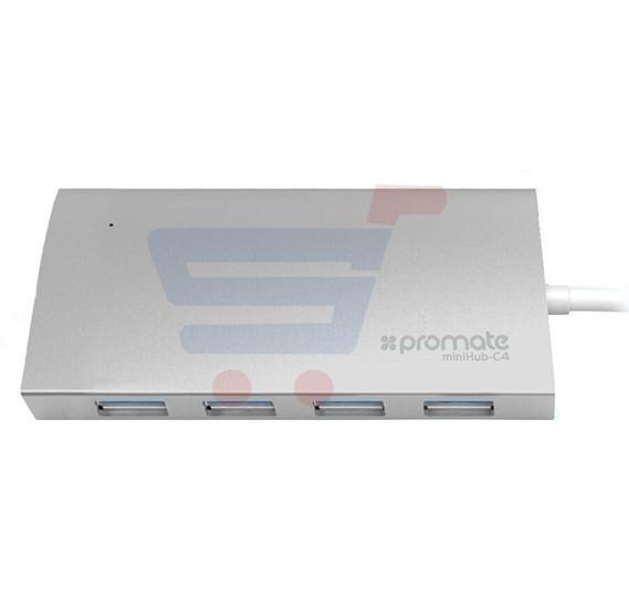 Promate USB C 3.1 Type C to 4 Port USB 3.1 HUB, Ultra Sleek Aluminum Design for USB Type C Devices, Mac Book Pro, Chrome Book Pixel, MINIHUB-C4.GREY