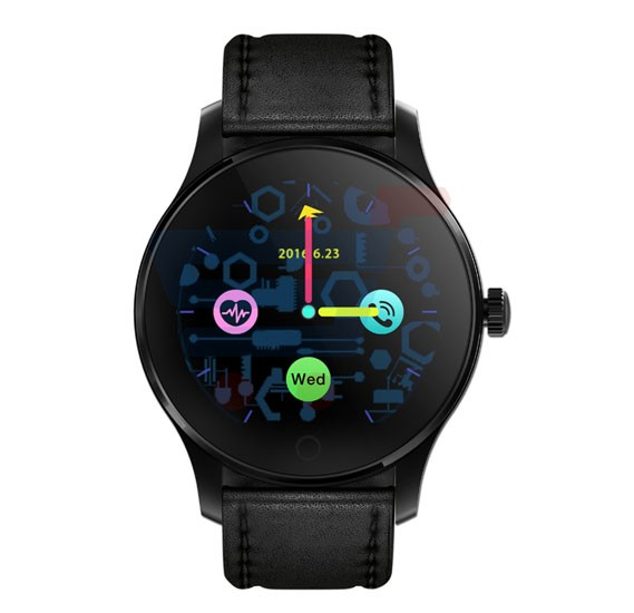 Renon RW-105 Bluetooth Smart Wrist Watch, Black Leather Strap