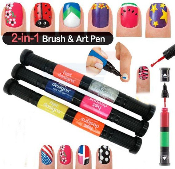 Hot Designs Nail Art Pens with 6 Colors, Set of 3