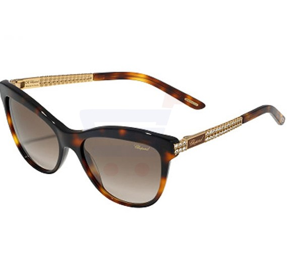 Chopard Oval Orange Spotted Dark Havana Frame & Brown Mirrored Sunglass For Women - SCH189S-0748