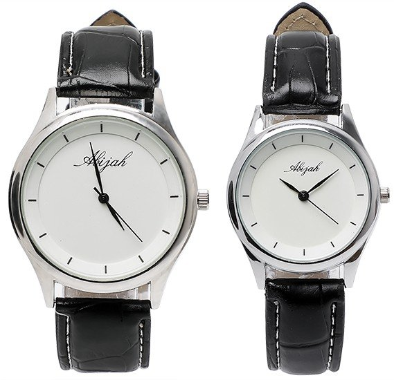 Abijah Black Strap Couple watch set, Alg009