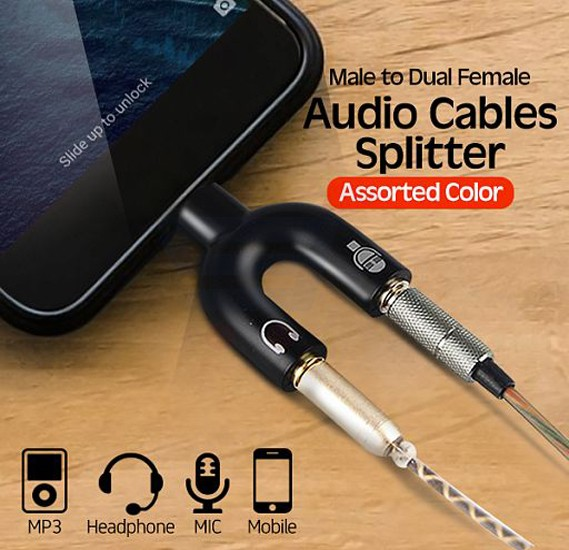 Universal Useful 3.5mm U Type Male to Dual Female Headphone Audio Cables Splitter