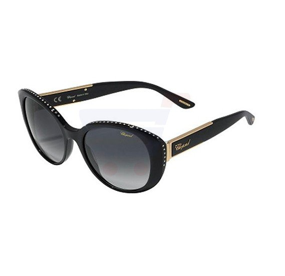 Chopard Oval Shiny Black Frame & Smoked Grey Gradient Mirrored Sunglasses For Women - SCH191S-700Y