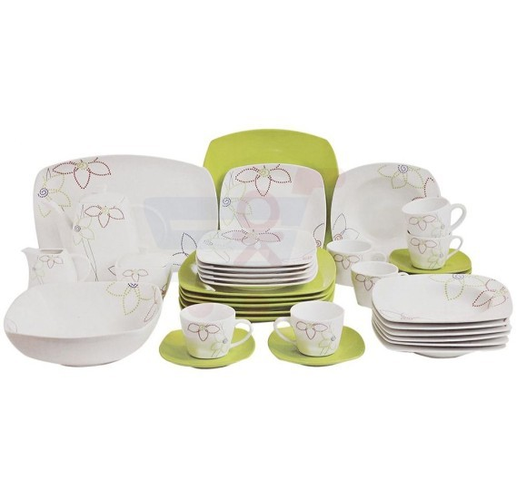 Flamingo Porcelain Square Type Dinner Set 37 PCS - FL7708PDS