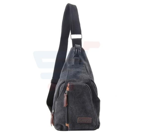 Cross Body Canvas Bag For Unisex Black