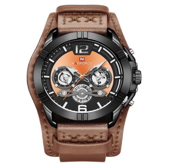 Naviforce Genuine Leather Multi-Function Quartz Movement Watch For Men, NF 9162 Brown Orrange