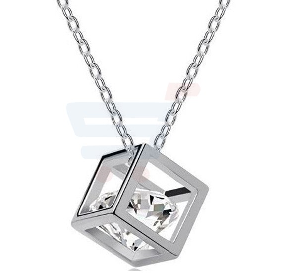Crystal Cube Eight Heart Eight Arrow Zircon Necklace, XL016