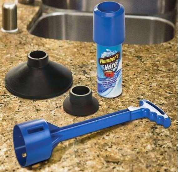 Plumbers Hero Kit Unclog Drains Instantly Toilet Flushing Shower Plunger Seen Tv