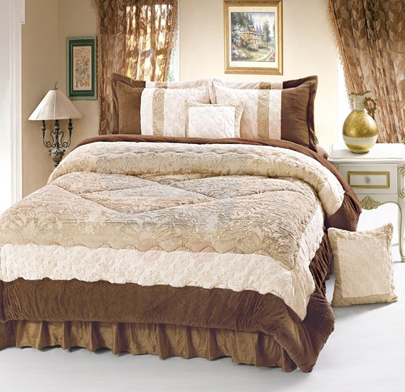 Senoures Velour Comforter 6Pcs Set King - SPV-001 Camel