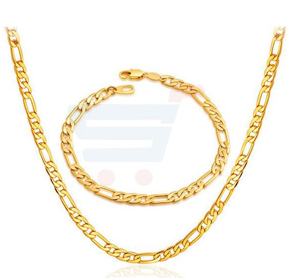 18k Real Gold Plated Never Fade Chunky Figaro Bracelet For Men