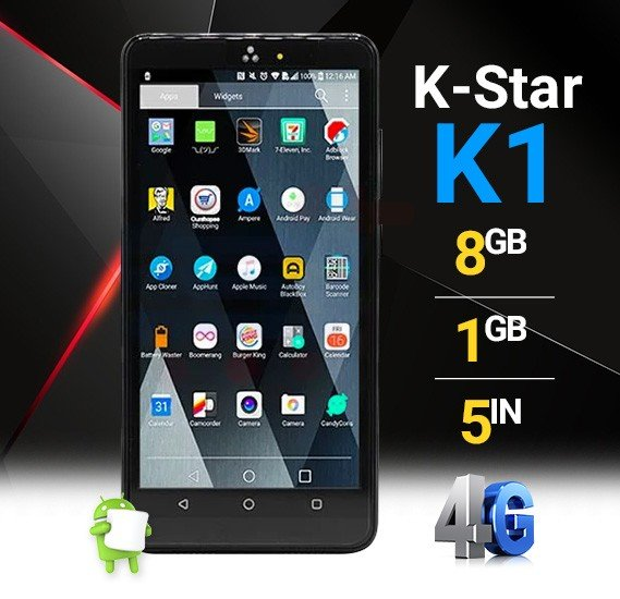 K-Star K1 Smartphone 4G, Android 6.0,HD Display 5.0 inch, 1GB RAM, 8GB Storage, Dual SIM,Dual Camera,Dual Core, FM Radio, Wi-Fi - Black