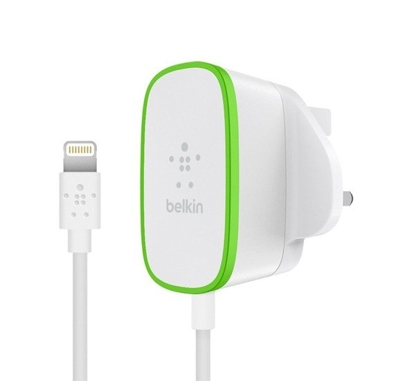 Belkin home Wall Charger with Hardwired Lightning Cable, 2.4AMP