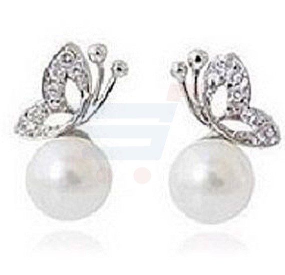 18K White Gold Plated Butterfly Earing For Women