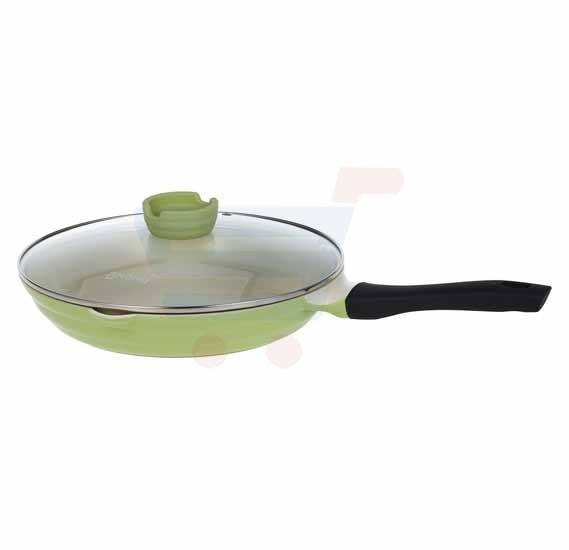 OKonig Bio and Eco Ceramic Fry Pan with lid 28 cm, Green