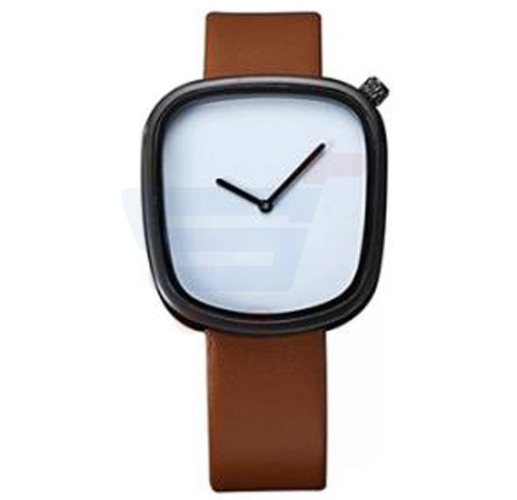 TOMI Unisex Leather Band Wrist Watch T077, Brown Black